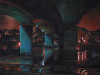 nighttime under the bridge painting